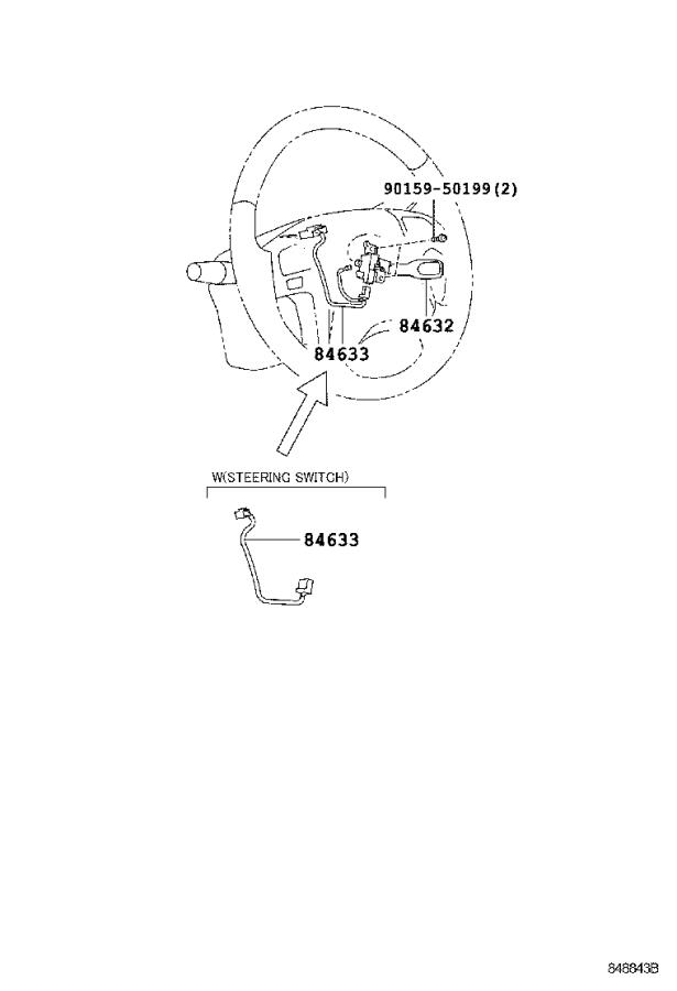Toyota Highlander Steering Wheel Wiring Harness  Wire