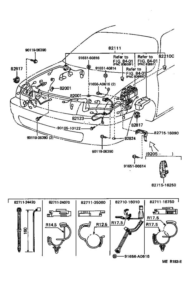 Toyota Tercel Wire  Front Door  Right  Electrical  Wiring